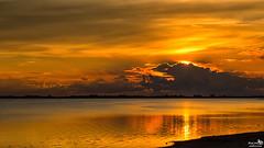 Sunset and Clouds (BraCom (Bram)) Tags: bracom sunset zonsondergang reflections spiegling cloud wolk meer lake beach strand silhouettes silhouetten bird vogel clouds wolken evening avond rimpeling water ripple herkingen grevelingen goereeoverflakkee zuidholland nederland southholland netherlands holland canoneos5dmkiii widescreen canon 169 canonef24105mm bramvanbroekhoven nl