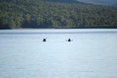 An Evening of Peace (eyriel) Tags: water lake kayak kayaks adirondacks nature people paddle paddling hillside sunset silhouette silhouettes