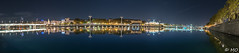 Night panorama of Lyon (mathieuo1) Tags: lyon france europe town city cityscape landscape night light illumination reflection reflexion blue colors orange nikon dlsr mpixel longexposure le mathieuo architecture panorama outdoor shore river rivershore