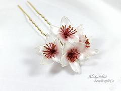 Cherry Blossom Hair Pin (BestPeople.Ca) Tags: hair pin resin kanzashi cherry blossom handmade transparent forgetmenot