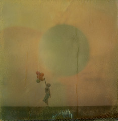 Letting go (Celina Innocent) Tags: balloons girl windy impossibleproject sx70 transparency manipulation instant film polaroidweek