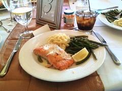 Wedding Dinner (Stardustrose22) Tags: salmon fish green beans mashed potatoes food drink wine water glass lemon soda coca cola
