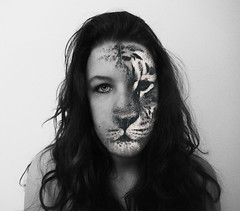 Be brave. (Yud Wild) Tags: original white eye byn girl beautiful face lady hair perfect tiger curly brave backround