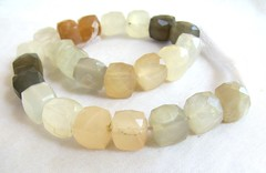 multi moonstone faceted cube beads1 (GemaliciousBeads) Tags: white strand beads gray peach 8mm multicolor moonstone 7mm facetedcubes