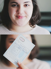 Maarico (Joana C.A.T. Cardoso) Tags: two woman blur macro girl smile canon hair nose happy eos 50mm drive eyes focus diptych close natural emotion expression authority makeup naturallight double lips license driver hold legal driverslicense brows 550d joanacardoso eos550d joanacardosophotography