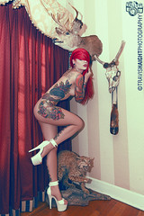 Cervena Fox 2 (TravisHaight) Tags: wood uk red arizona portrait slr london phoenix beauty fashion tattoo fetish canon hair nude photography model glamour floor alt mikey haight fox travis heels mk2 5d dslr strobe sarratt mkii markii tattooed implied mark2 speedlite cervena