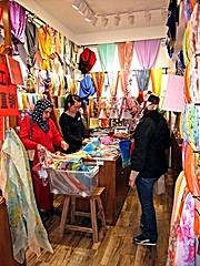 Scarf Shop (Mary Faith.) Tags: shop trade retail scarf clothing bright sell vendor colour
