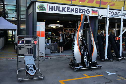 Force India garage and pits