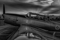 Chipmunk B&W (Lee532) Tags: dehavilland chipmunk aeroplane plane aircraft heritage vintage aviation sunset sun set sky clouds reflection canopy nikon d610 nikkor 2470mm outdoor