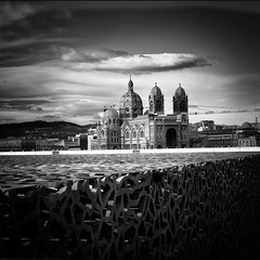 postcards from Marseille #5 (Katerina Atha) Tags: marseille mucem cathedral architecture bw blackandwhite travel light dark