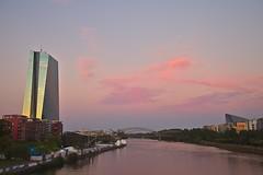 European Central Bank in Pink (Dan_Khan) Tags: frankfurt europeancentralbank sunset river pink canoneos5dmkii canonef2485mmf3545usm longexposure