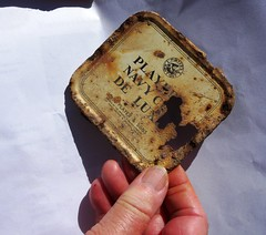 Remains of a tobacco tin (Thames Discovery Programme) Tags: thamesdiscoveryprogramme westminster london community archaeology riverthames fwm06