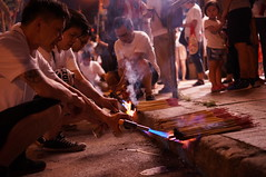 Preparing the incense sticks for the Fire Dragon (orange.snapper) Tags: street photography incensesticks festival midautumnfestival joyful people hongkong