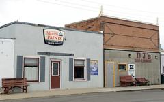 Businesses in downtown Streeter, North Dakota (Blake Gumprecht) Tags: stutsmancounty northdakota streeter downtown florencestreet businesses stores paint carpet djsbarlounge