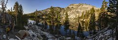 Our campsite at remote Altha Lake (speedcenter2001) Tags: outdoor hiking backpacking backcountry mountains wilderness anseladamswilderness highsierra sierranevada sierra johnmuirtrail nikon20mmf35ai panorama stitch sunrise lake