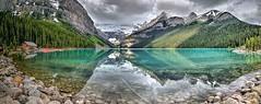 LakeLouisePanorama1 (L. Bradfish) Tags: lbradfish louise lakelouise banff banffnationalpark lake glacier canoe alberta canada