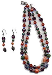 Carnelian, bloodstone, sodalite, amethyst, jade and glass beads with copper findings make up this necklace and earring set (elizabatz.jensen) Tags: jewelry carnelian bloodstone amethyst jade glass beads copper necklace earring set