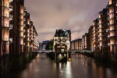 Water & Warehouses (melfoody) Tags: hamburg canal warehouse industrial water longexposure bridges night city urban