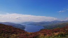 Loch Katrine 1 (brightondj - getting the most from a cheap compact) Tags: thirdwalk scotland trossachs lochkatrine view mountains arrocharalps benaan heather landscape