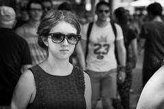 The little black dress... (Periades) Tags: bw blackandwhite blackwhite black candid contrast fille femme girl glasses human lunettes noiretblanc nb noir photoderue rue streetphotography street streethuman woman