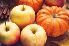 Autumn vibes (Arx0nt.) Tags: apple autumn thanksgiving day halloween pumpkin fruit vegetable harvest agriculture yellow orange cinnamon spice cooking ingredient fresh raw leaf table closeup stilllife concept season october november toned nature natural organic crop decoration