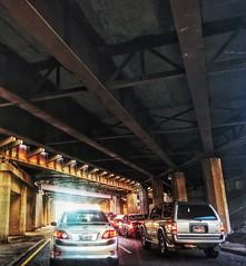 Driving under (Pejasar) Tags: driving underground overpass tulsa oklahoma light dark road cars