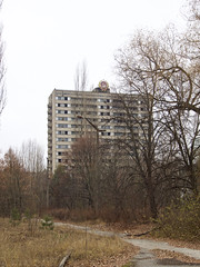 Scene at Pripyat, Ukraine (Clay Gilliland) Tags: chernobyl ukraine ussr building apartments communist communism exclusionzone