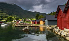 Solvorn (Ornaim) Tags: solvorn town city norway norge calm peace water seaside fjord coloured house tree forest sun dawn boat harbour port nature landscape photo nikon d610 lee filter gnd 03 grad hard 1635 panoramic microsoft image composite editor lightroom
