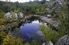 Quarry pool at Cranberry Lake Preserve (davegammon) Tags: quarry pool water rock landscape nature trees fall autumn colors refelction clouds sky cranberrylake