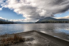 Bosk Lake (Cariboo Finn) Tags: bosklake bc campsite lake water clouds beach landscape trees