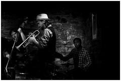Bandleader (Christoph Schrief) Tags: frankfurtammain fabrik jazzfestival dennissekretarevquartet dennissekretarevtrumpet tristanrenfrowdrums jazz improvisedmusic leicadlux109 digital silverefex bw sw