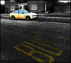 Alfa at the bus stop (larry_shone) Tags: car alfaromeo urban selectivecolour