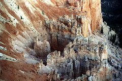 34-705 (ndpa / s. lundeen, archivist) Tags: nick dewolf nickdewolf color photographbynickdewolf 1970s 1973 film 35mm 34 reel34 utah southernutah southwesternunitedstates nationalpark brycecanyon brycecanyonnationalpark spires rock rocks rocky formation landscape terrain formations peaks outcropping outcroppings erosion 1972
