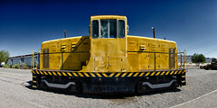 the switcher. barstow, ca. 2013. (eyetwist) Tags: california railroad blue panorama santafe color yellow usmc contrast photoshop saturated nikon desert graphic diesel stripes pano cab rusty rail panoramic symmetry highdesert mojave plugin weathered nik siding nikkor ge railyard processed stitched marinecorps arid 1941 44 ton mojavedesert generalelectric switcher barstow yermo cs6 13098 eyetwist nikcolorefex efex ge44ton d7000 eyetwistkevinballuff nikond7000 18200mmf3556gvrii