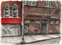 Broome Street, Lower East Side (Peter KOVAL) Tags: nyc newyorkcity ink watercolor arches tribeca koval disappearing schminke danielsmith