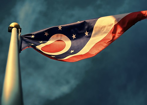 Ohio flag sunset