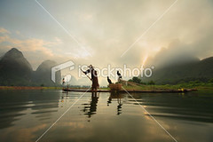 Fishermen (MPBHAIBO) Tags: china morning cloud mist mountain reflection water fog stone sunrise river landscape dawn liriver fishing fisherman asia dusk guilin yangshuo hill cormorant   cloudscape stormcloud cumulonimbus  chineseculture   xingping ruralscene fishingindustry  karstformation chineseethnicity woodenraft  guangxiregion