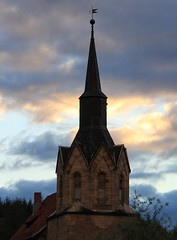 Spike in the evening sky (Linda6769) Tags: cloud church germany village thuringia clocktower spire weathervane brden