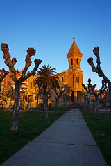 Church in Algorta, Getxo, at sunset with golden light (Mimadeo) Tags: blue light sunset red sky orange building tower church architecture sunrise landscape temple gold golden dusk religion illuminated dome christianity getxo algorta