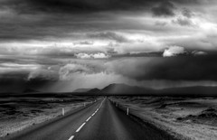 iceland rain and sun in b&w (mariusz kluzniak) Tags: road bw white black rain clouds landscape iceland europe sony north arctic polar alpha 580 a580