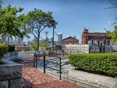 (mahler9) Tags: jaym august 2016 boston navyyard park fountain concrete city urban charletown tree shipyard