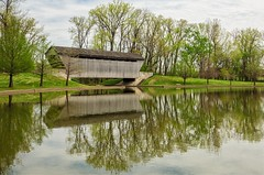 Reflections of Times Gone By (Alan Amati) Tags: amati alanamati america in indiana columbus midwest covered bridge coveredbridge reflection time reflections spring landscape pond water