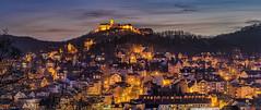 Eisenach with Wartburg Castle 7414 (kbaranowski) Tags: germany deutschland german culture eisenach wartburg castle mountains dusk night illuminated 2016krzysztofbaranowski krzysztofbaranowski city cityscape