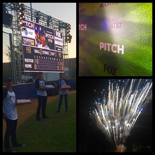 FOX's premiere of @pitchonfox on the baseball field & fireworks! @thefoodmatters #pitchonfox #FOX events #eventlife #staffing #baseball #girlboss #200ProofLA #200Proof