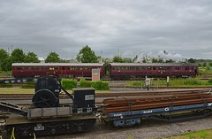 GWR Steam Railmotor, No.93 of 1908. Didcot Railway Centre. 09 07 2016 (pnb511) Tags: didcotrailwaycentre great western trains railway track steam rail motor crane trees clouds carriage