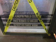 Narcos Bus Shelter Pile O Money AD - UPDATE They stole the fake money 5525 (Brechtbug) Tags: narcos bus shelter pile o money ad tv show stop with piles slightly singed real fake or is it 2016 nyc image taken 09172016 midtown manhattan new york city 49th street 7th ave st avenue moola bogus update they stole