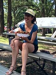 Julie with a large bowl of curly fries, Macy, Photo by CRudin (ali eminov) Tags: macy nebraska food curlyfries people women friends julie