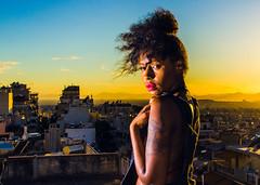Ivy (Johnidis) Tags: ivy portrait woman colours poster 90s afro urban style street city golden hour sunset warm cityscape johnidis nikon d5100