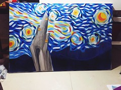 Vangoghing (fatima_aleid) Tags: pup cloudy arty artsy artwork peach starrynight painting oilpainting art canvas night starry gogh vangogh myart