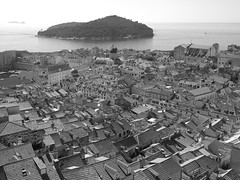 Old town Dubrovnik (Hammerhead27) Tags: olympus view buildings mono adriatic croatia lokrum island sea blackandwhite tourist wall roofs town old dubrovnik